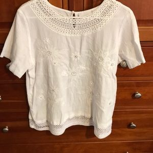 Alfred Dunner white top with beads